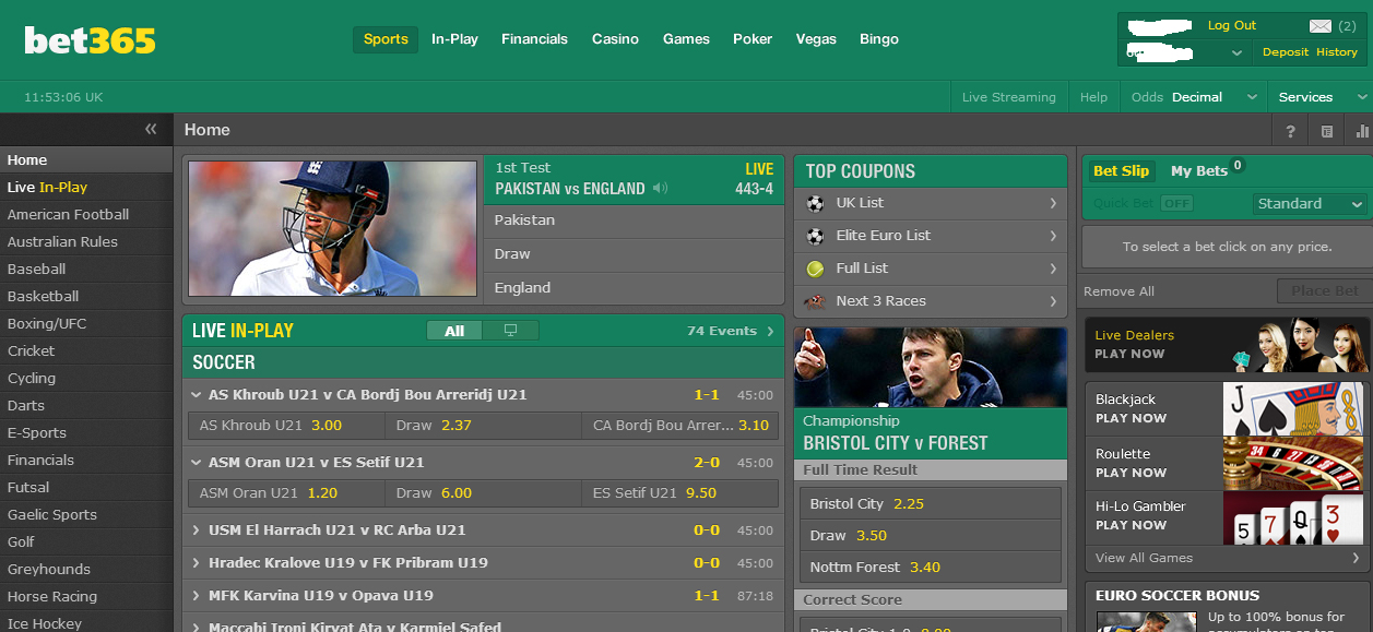 bet365 poor web interface