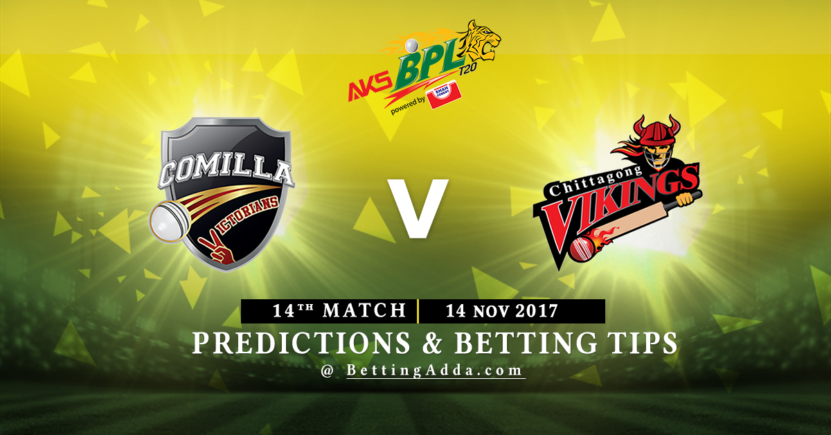 Comilla Victorians vs Chittagong Vikings 14th Match Prediction, Betting Tips & Preview