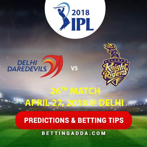 Delhi Daredevils vs Kolkata Knight Riders 26th Match Prediction, Betting Tips & Preview