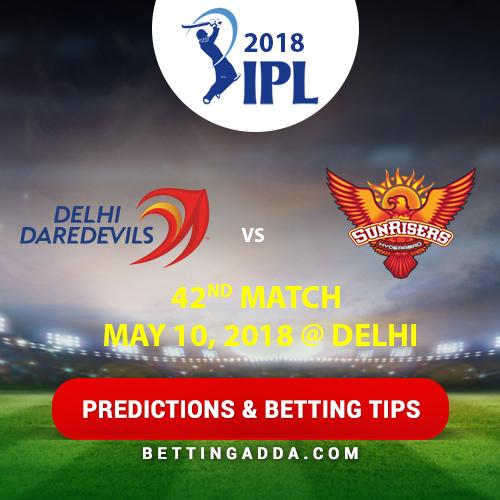 Delhi Daredevils vs Sunrisers Hyderabad 42nd Match Prediction, Betting Tips & Preview