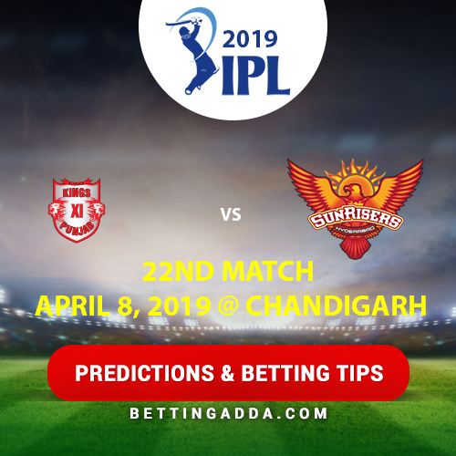 Kings XI Punjab vs Sunrisers Hyderabad 22nd Match Prediction, Betting Tips & Preview