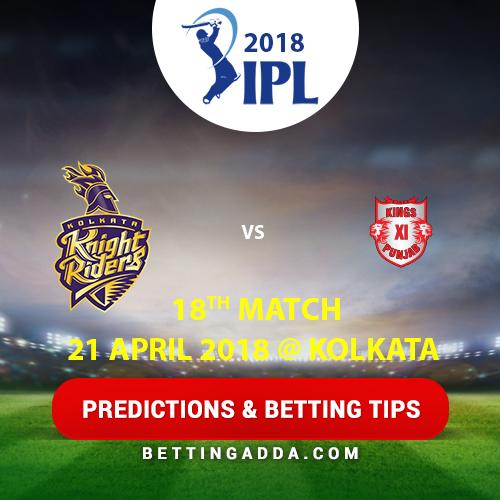Kolkata Knight Riders vs Kings XI Punjab 18th Match Prediction, Betting Tips & Preview