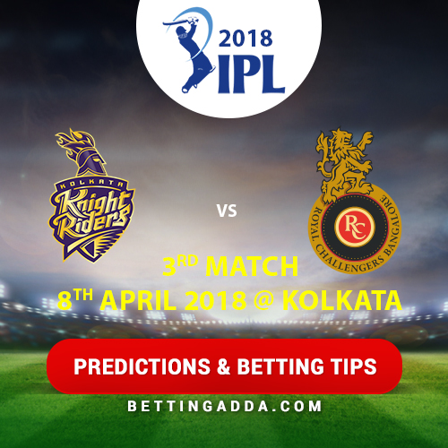 Kolkata Knight Riders vs Royal Challengers Bangalore 3rd Match Prediction, Betting Tips & Preview