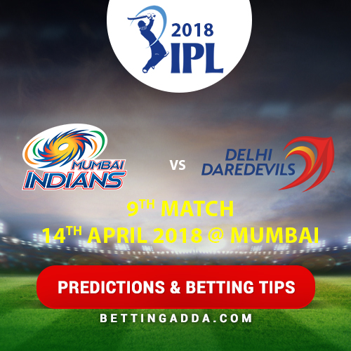Mumbai Indians vs Delhi Daredevils 9th Match Prediction, Betting Tips & Preview