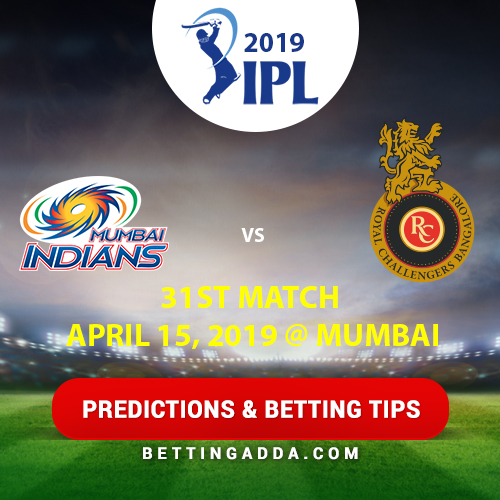 Mumbai Indians vs Royal Challengers Bangalore 31st Match Prediction, Betting Tips & Preview