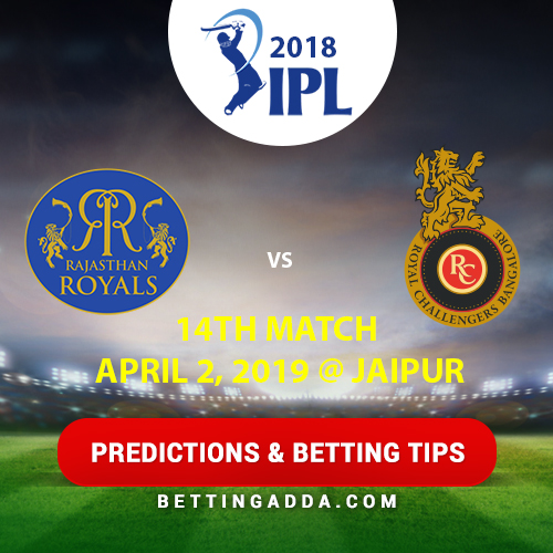 Rajasthan Royals vs Royal Challengers Bangalore 14th Match Prediction, Betting Tips & Preview