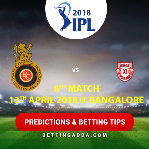 Royal Challengers Bangalore vs Kings XI Punjab 8th Match Prediction, Betting Tips & Preview