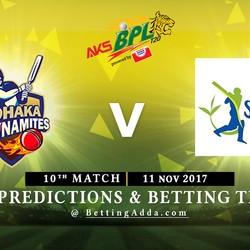 BPL 10th Match Dhaka dynamites v Sylhet Sixers 11 November 2017 Predictions and Betting Tips