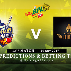 BPL 13th Match Dhaka Dynamites v Khulna Titans 14 November 2017 Predictions and Betting Tips