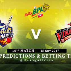 BPL 16th Match Dhaka Dynamites v Chittagong Vikings 15 November 2017 Predictions and Betting Tips