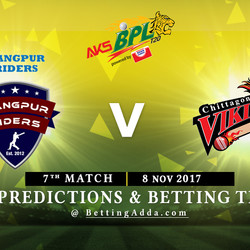 BPL 7th Match Rangpur Riders v Chittagong Vikings 08 November 2017 Predictions and Betting Tips