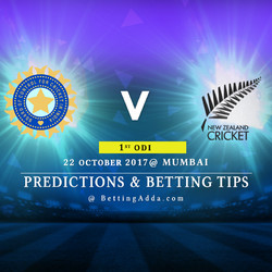 India v New Zealand 1st ODI Mumbai 22 October 2017 Predictions Betting Tips