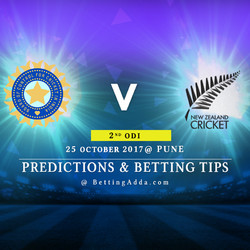 India v New Zealand 2nd ODI Pune 25 October 2017 Predictions Betting Tips