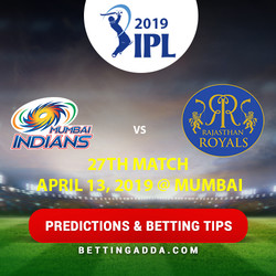 Mumbai Indians vs Rajasthan Royals 27th Match Prediction Betting Tips Preview
