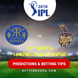 Rajasthan Royals vs Kolkata Knight Riders 15th Match Prediction Betting Tips Preview