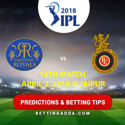 Rajasthan Royals vs Royal Challengers Bangalore 14th Match Prediction Betting Tips Preview