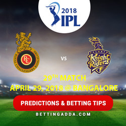 Royal Challengers Bangalore vs Kolkata Knight Riders 29th Match Prediction Betting Tips Preview