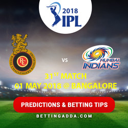 Royal Challengers Bangalore vs Mumbai Indians 31st Match Prediction Betting Tips Preview
