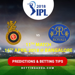 Royal Challengers Bangalore vs Rajasthan Royals 11th Match Prediction Betting Tips Preview