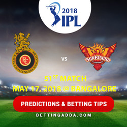 Royal Challengers Bangalore vs Sunrisers Hyderabad 51st Match Prediction Betting Tips Preview