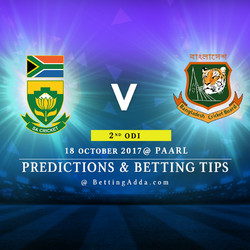 South Africa v Bangladesh 2nd ODI 18 October 2017 Paarl Predictions and Betting Tips