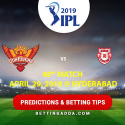 Sunrisers Hyderabad vs Kings XI Punjab 48th Match Prediction Betting Tips Preview