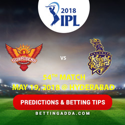 Sunrisers Hyderabad vs Kolkata Knight Riders 54th Match Prediction Betting Tips Preview