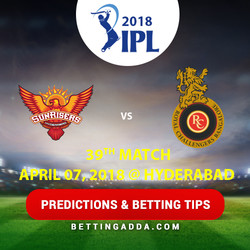 Sunrisers Hyderabad vs Royal Challengers Bangalore 39th Match Prediction Betting Tips Preview