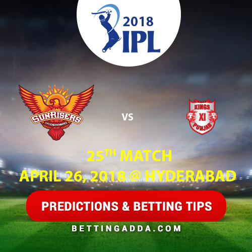 Sunrisers Hyderabad vs Kings XI Punjab 25th Match Prediction, Betting Tips & Preview