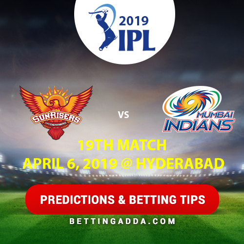 Sunrisers Hyderabad vs Mumbai Indians 19th Match Prediction, Betting Tips & Preview